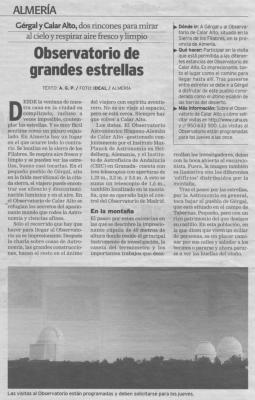 ARTÍCULO SOBRE GÉRGAL Y CALAR ALTO PUBLICADO EN IDEAL DE GRANADA, EN LA SECCIÓN VIVIR,